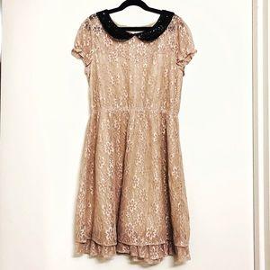 Dresses & Skirts - Beige lace dress black sequin Peter Pan collar